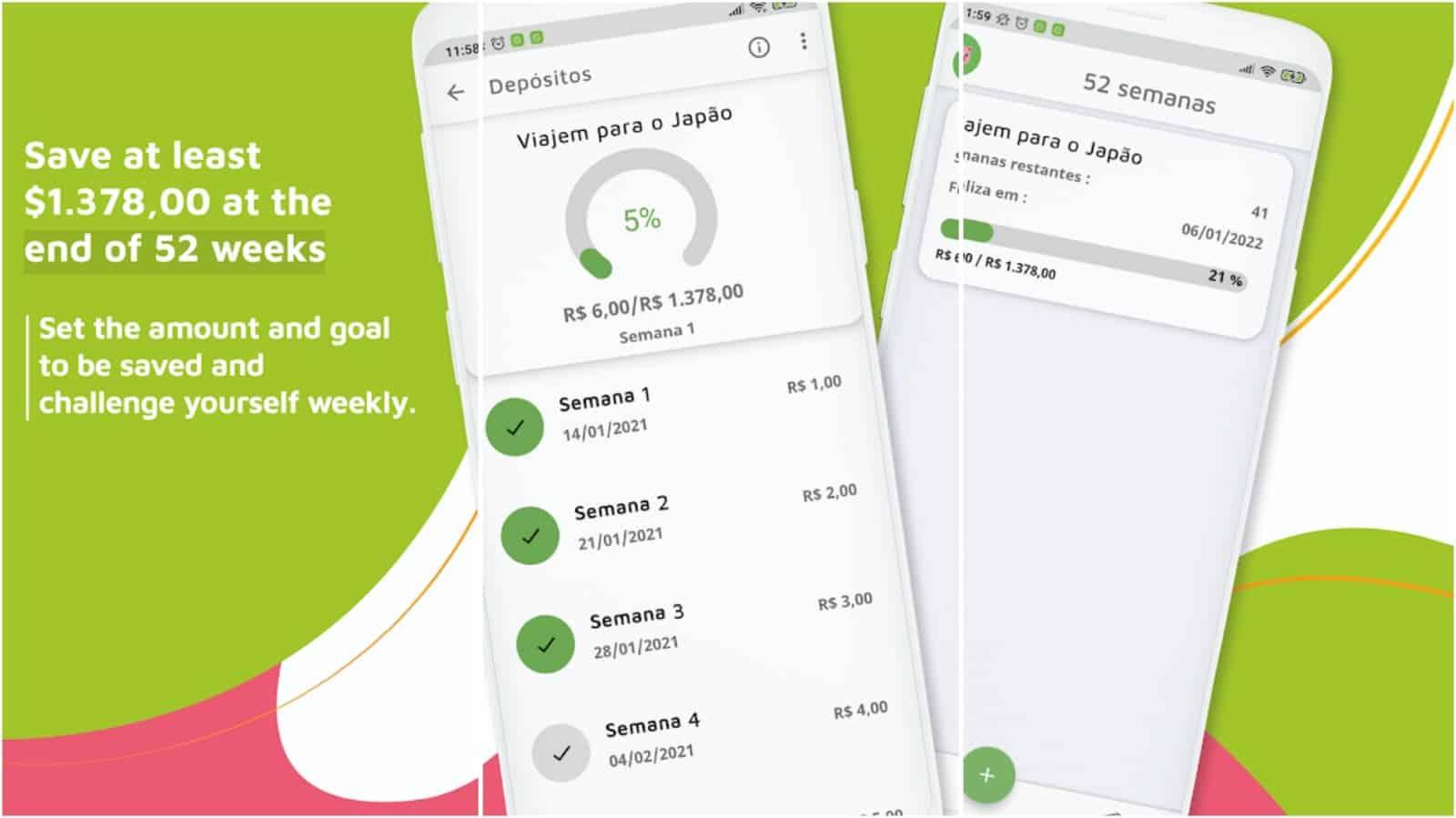 Изображение сетки приложения 52 Weeks Money Challenge