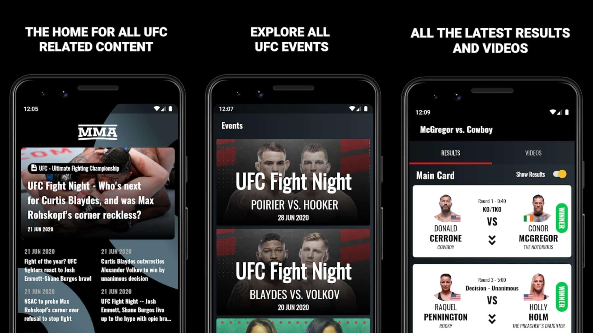 Сетка всех приложений MMA