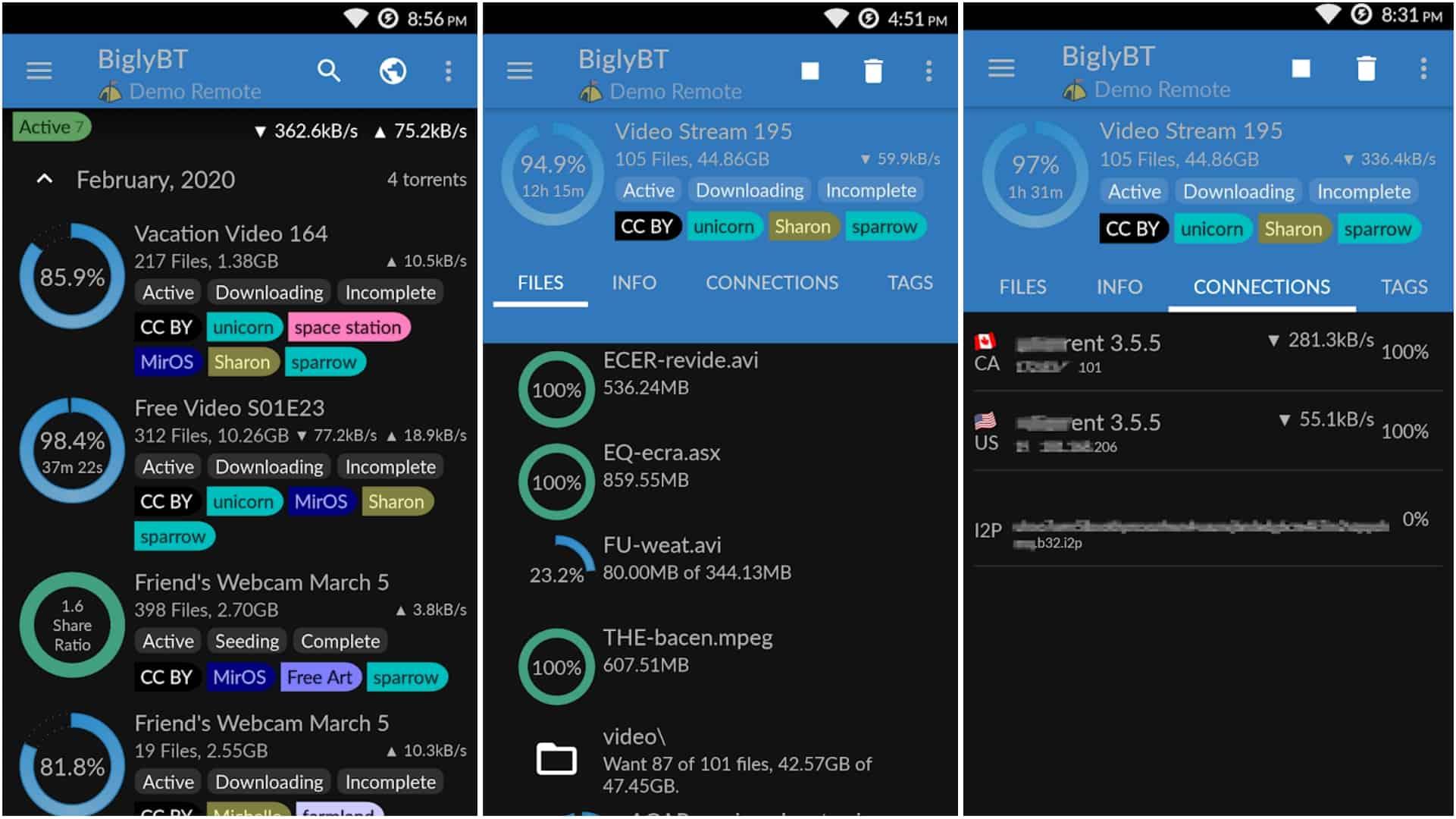 Сетка приложения BiglyBT