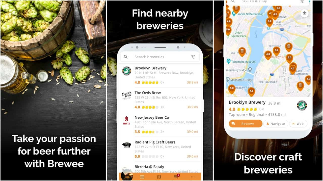 Сетка приложения Brewee