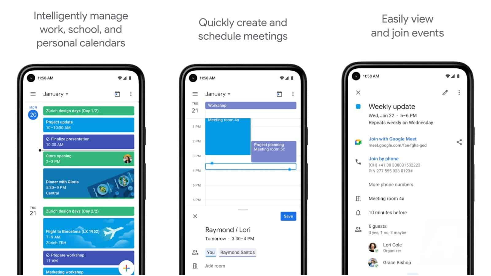 Изображение сетки приложения Google Календарь