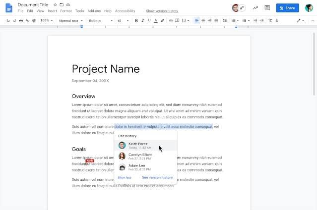 Документы Google показывают историю редактирования редакторами