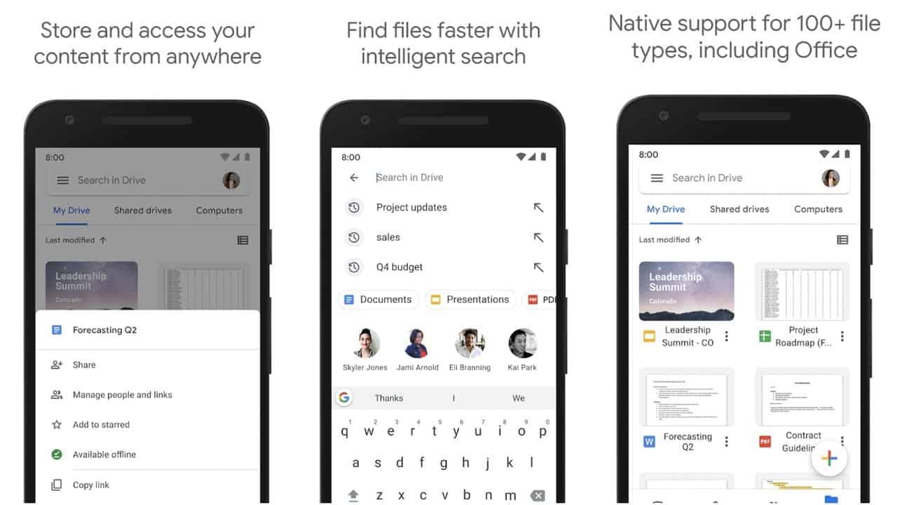 Сетка приложения Google Drive
