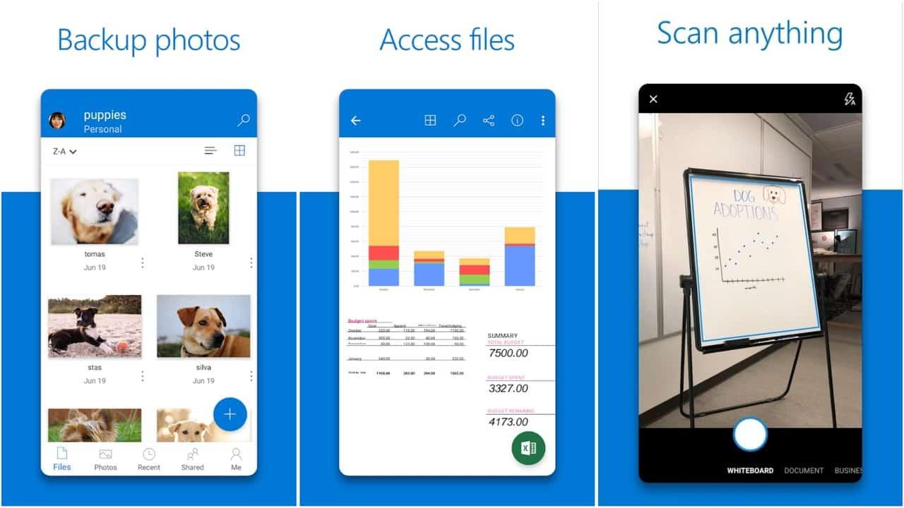 Сетка приложения Microsoft OneDrive