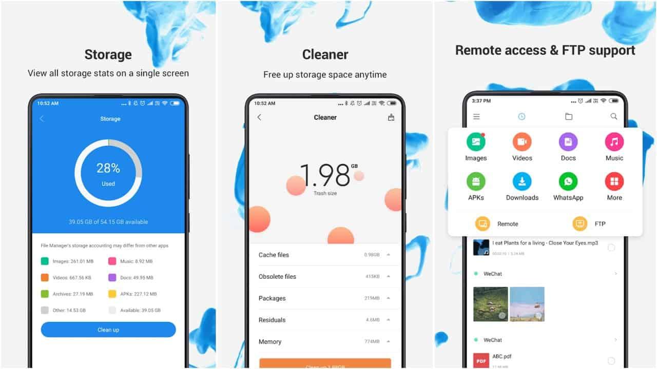 Сетка приложения Xiaomi File Manager